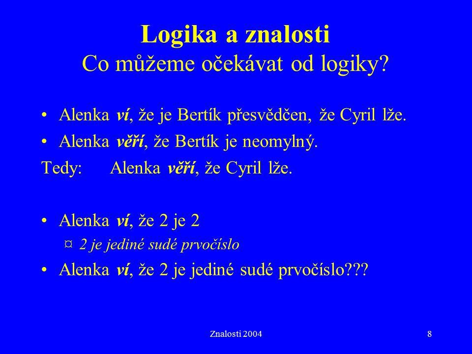 Znalosti 20048 Alenka ví, že je Bertík přesvědčen, že Cyril lže. Alenka věří, že Bertík je neomylný. Tedy:Alenka věří, že Cyril lže. Alenka ví, že 2 j