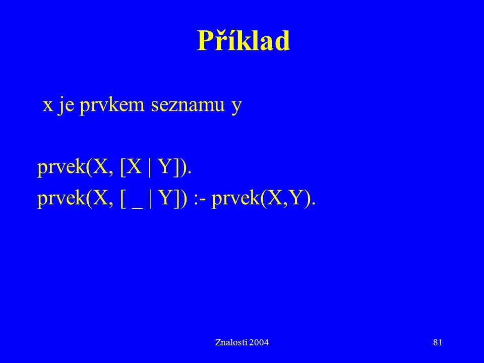 Znalosti 200481 Příklad x je prvkem seznamu y prvek(X, [X   Y]). prvek(X, [ _   Y]) :- prvek(X,Y).