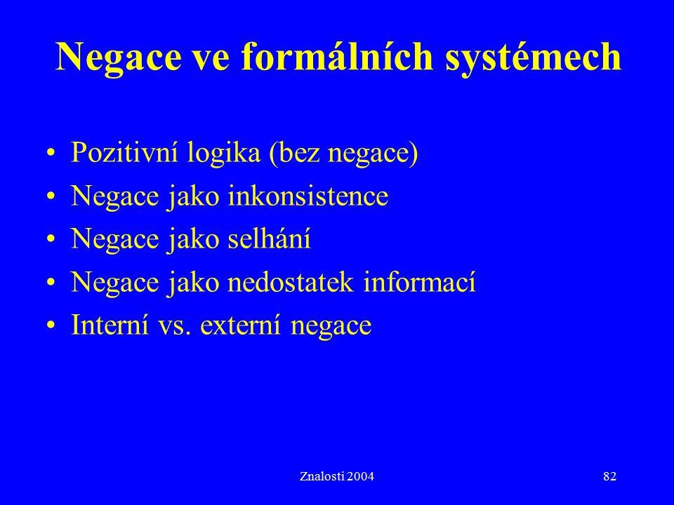 Znalosti 200482 Negace ve formálních systémech Pozitivní logika (bez negace) Negace jako inkonsistence Negace jako selhání Negace jako nedostatek informací Interní vs.