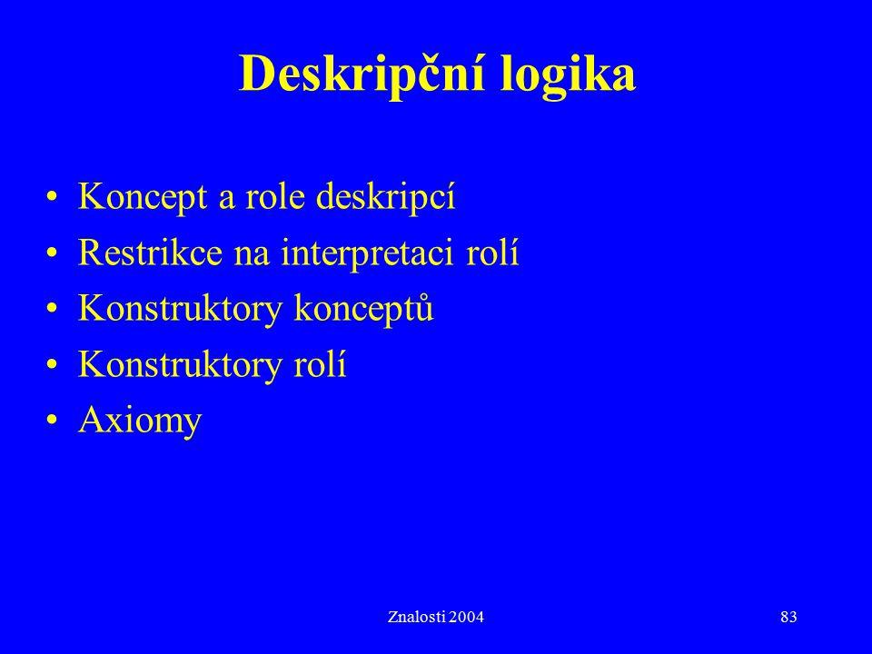 Znalosti 200483 Deskripční logika Koncept a role deskripcí Restrikce na interpretaci rolí Konstruktory konceptů Konstruktory rolí Axiomy