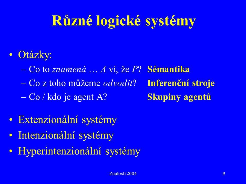 Znalosti 20049 Různé logické systémy Otázky: –Co to znamená … A ví, že P?Sémantika –Co z toho můžeme odvodit?Inferenční stroje –Co / kdo je agent A?Skupiny agentů Extenzionální systémy Intenzionální systémy Hyperintenzionální systémy