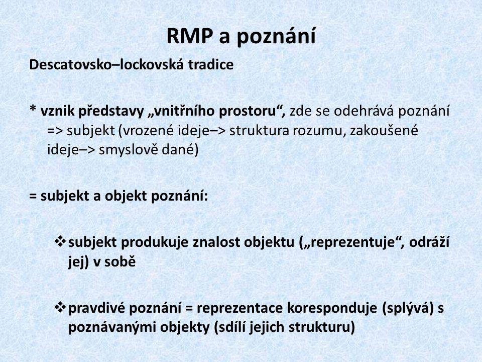 """RMP a poznání Descatovsko–lockovská tradice * vznik představy """"vnitřního prostoru"""", zde se odehrává poznání => subjekt (vrozené ideje–> struktura rozu"""