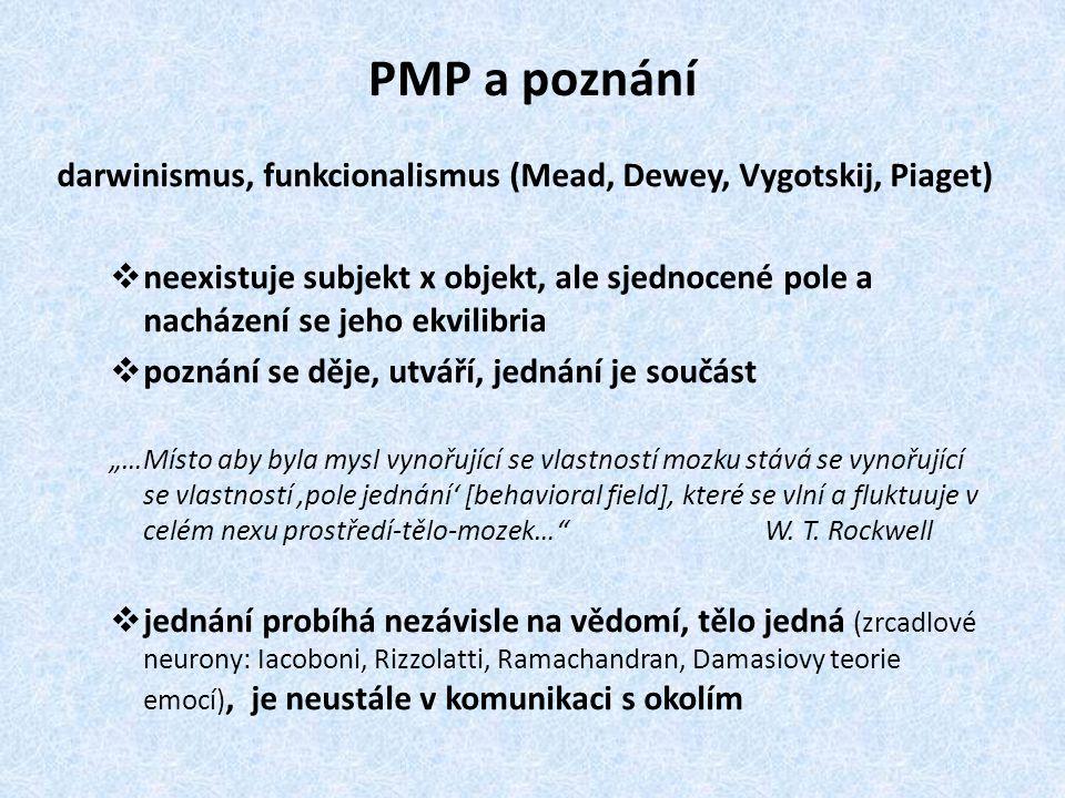 PMP a poznání darwinismus, funkcionalismus (Mead, Dewey, Vygotskij, Piaget)  neexistuje subjekt x objekt, ale sjednocené pole a nacházení se jeho ekv