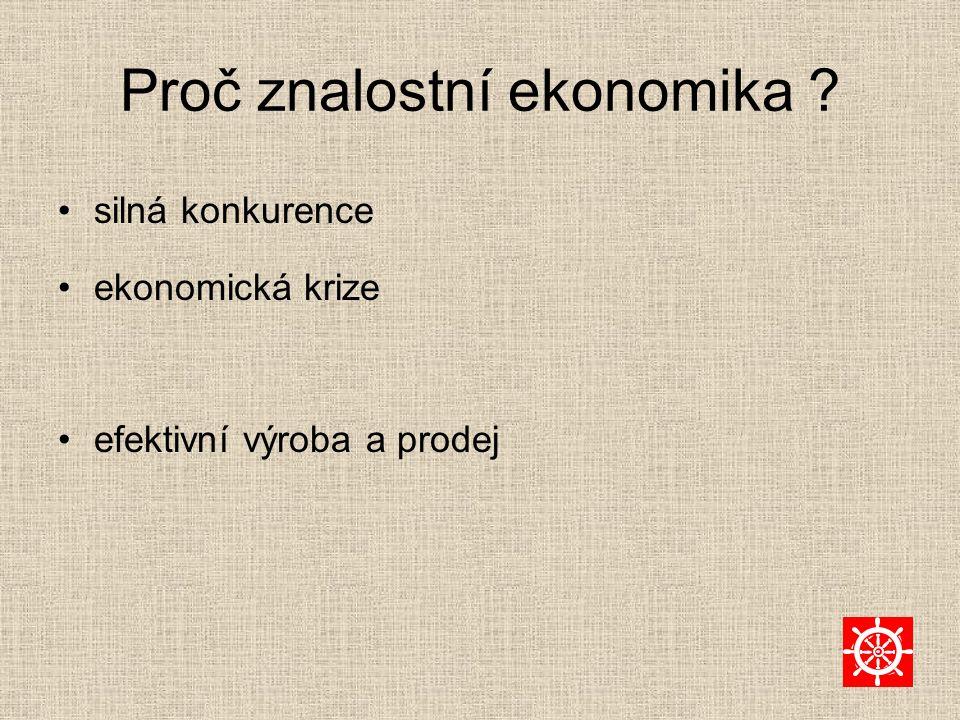 Proč znalostní ekonomika ? silná konkurence ekonomická krize efektivní výroba a prodej