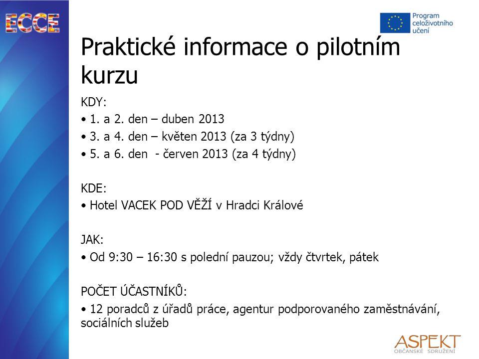 Praktické informace o pilotním kurzu KDY: 1. a 2. den – duben 2013 3. a 4. den – květen 2013 (za 3 týdny) 5. a 6. den - červen 2013 (za 4 týdny) KDE: