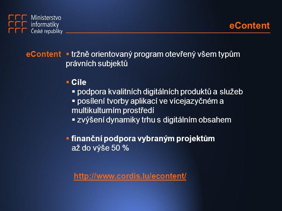 eContent  tržně orientovaný program otevřený všem typům právních subjektů  Cíle  podpora kvalitních digitálních produktů a služeb  posílení tvorby aplikací ve vícejazyčném a multikulturním prostředí  zvýšení dynamiky trhu s digitálním obsahem  finanční podpora vybraným projektům až do výše 50 % http://www.cordis.lu/econtent/ eContent