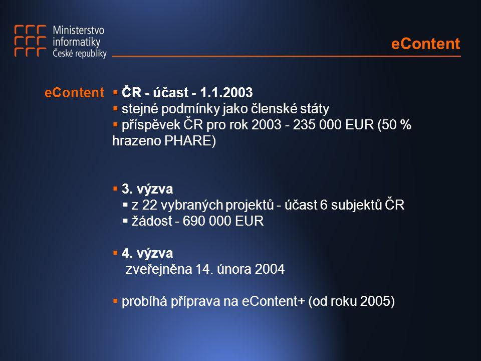  ČR - účast - 1.1.2003  stejné podmínky jako členské státy  příspěvek ČR pro rok 2003 - 235 000 EUR (50 % hrazeno PHARE)  3.