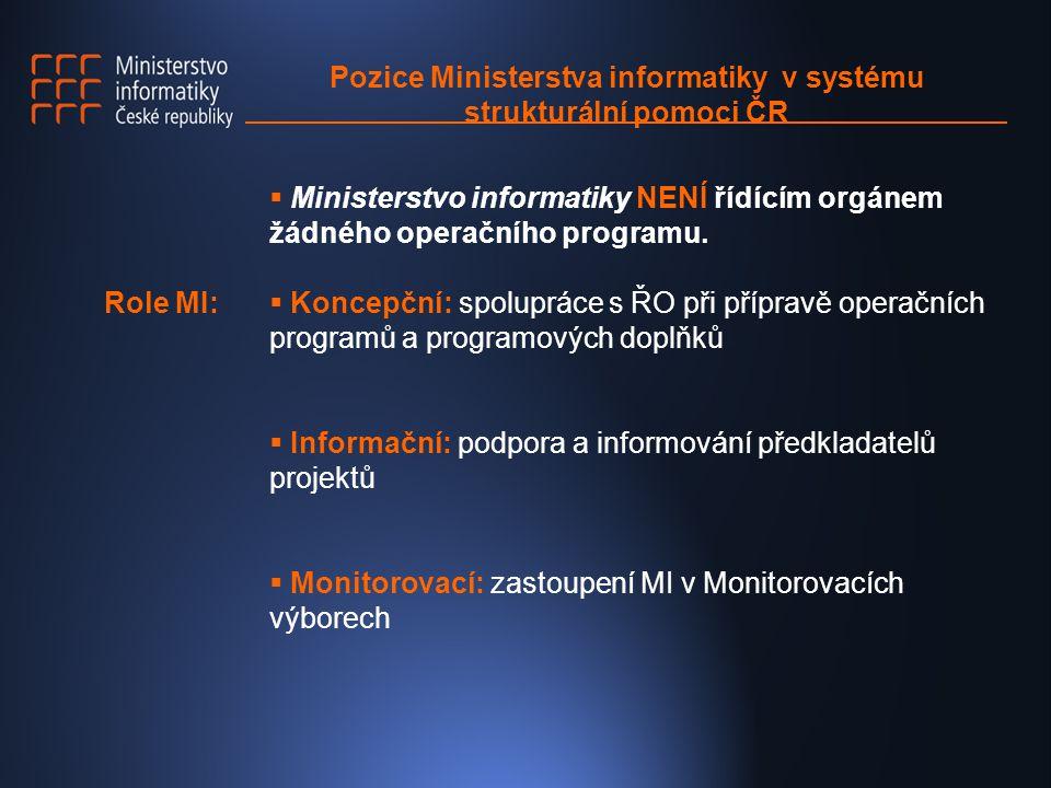 Pozice Ministerstva informatiky v systému strukturální pomoci ČR Role MI:  Ministerstvo informatiky NENÍ řídícím orgánem žádného operačního programu.