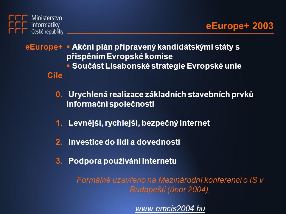 eEurope+ 2003  Akční plán připravený kandidátskými státy s přispěním Evropské komise  Součást Lisabonské strategie Evropské unie Urychlená realizace základních stavebních prvků informační společnosti Levnější, rychlejší, bezpečný Internet Investice do lidí a dovedností Podpora používání Internetu Formálně uzavřeno na Mezinárodní konferenci o IS v Budapešti (únor 2004).