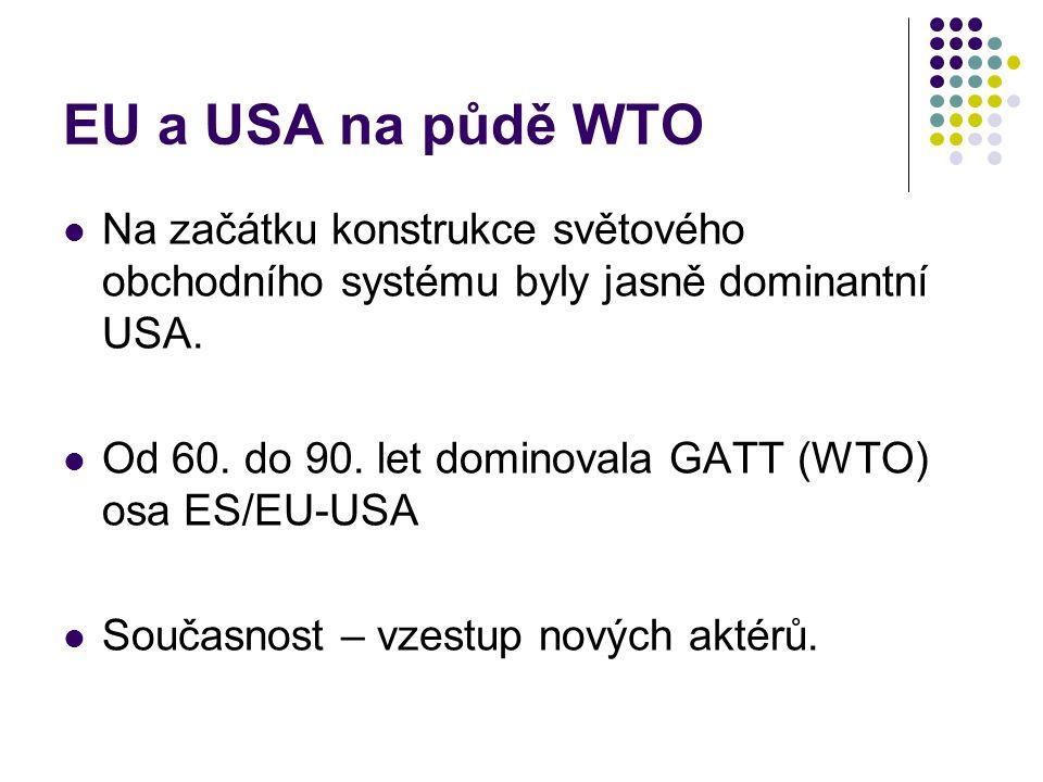 EU a USA na půdě WTO Na začátku konstrukce světového obchodního systému byly jasně dominantní USA.