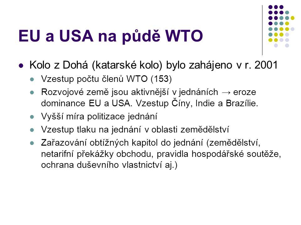 EU a USA na půdě WTO Kolo z Dohá (katarské kolo) bylo zahájeno v r.