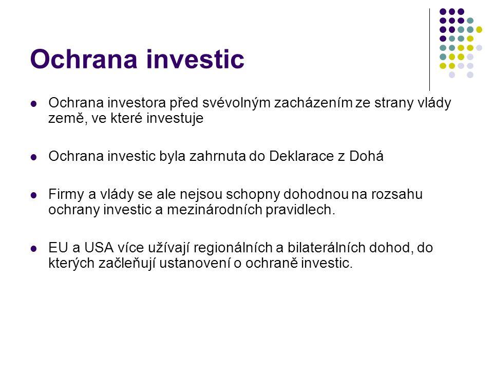 Ochrana investic Ochrana investora před svévolným zacházením ze strany vlády země, ve které investuje Ochrana investic byla zahrnuta do Deklarace z Dohá Firmy a vlády se ale nejsou schopny dohodnou na rozsahu ochrany investic a mezinárodních pravidlech.