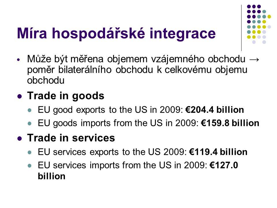 Míra hospodářské integrace  Může být měřena objemem vzájemného obchodu → poměr bilaterálního obchodu k celkovému objemu obchodu Trade in goods EU good exports to the US in 2009: €204.4 billion EU goods imports from the US in 2009: €159.8 billion Trade in services EU services exports to the US 2009: €119.4 billion EU services imports from the US in 2009: €127.0 billion