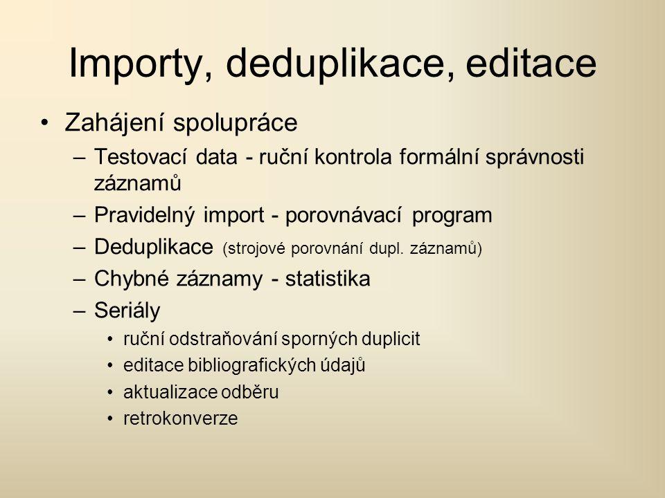 Importy, deduplikace, editace Zahájení spolupráce –Testovací data - ruční kontrola formální správnosti záznamů –Pravidelný import - porovnávací program –Deduplikace (strojové porovnání dupl.