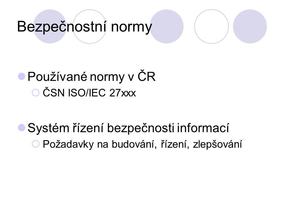 Bezpečnostní normy Používané normy v ČR  ČSN ISO/IEC 27xxx Systém řízení bezpečnosti informací  Požadavky na budování, řízení, zlepšování