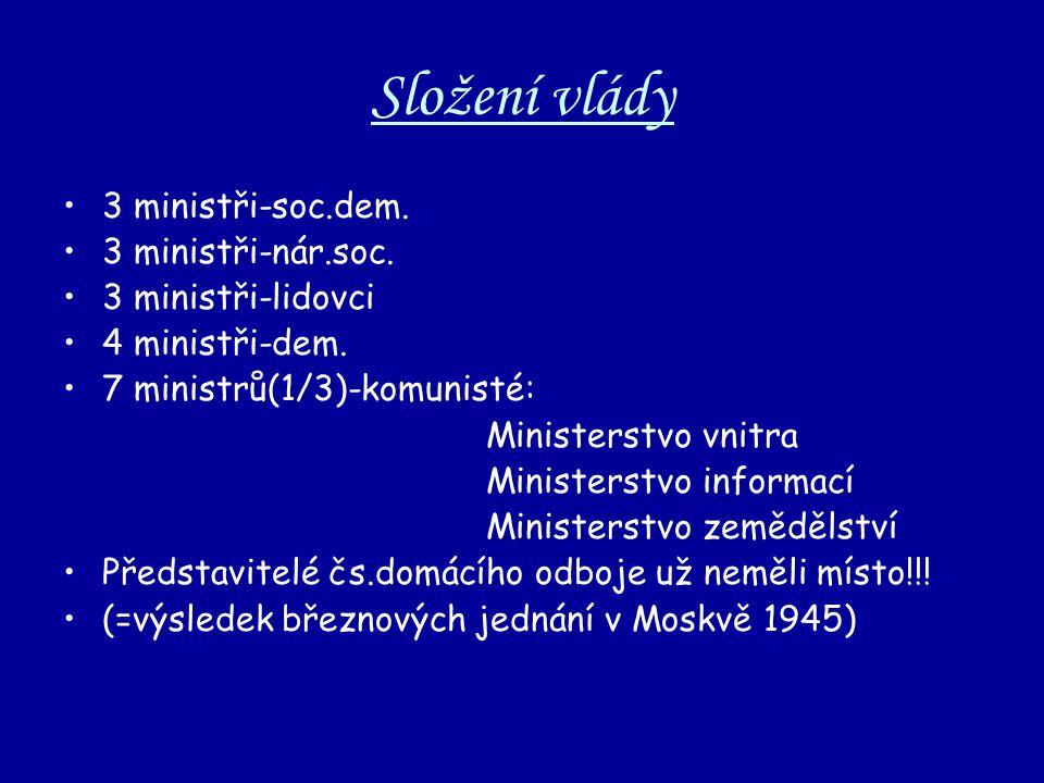 Složení vlády 3 ministři-soc.dem. 3 ministři-nár.soc. 3 ministři-lidovci 4 ministři-dem. 7 ministrů(1/3)-komunisté: Ministerstvo vnitra Ministerstvo i
