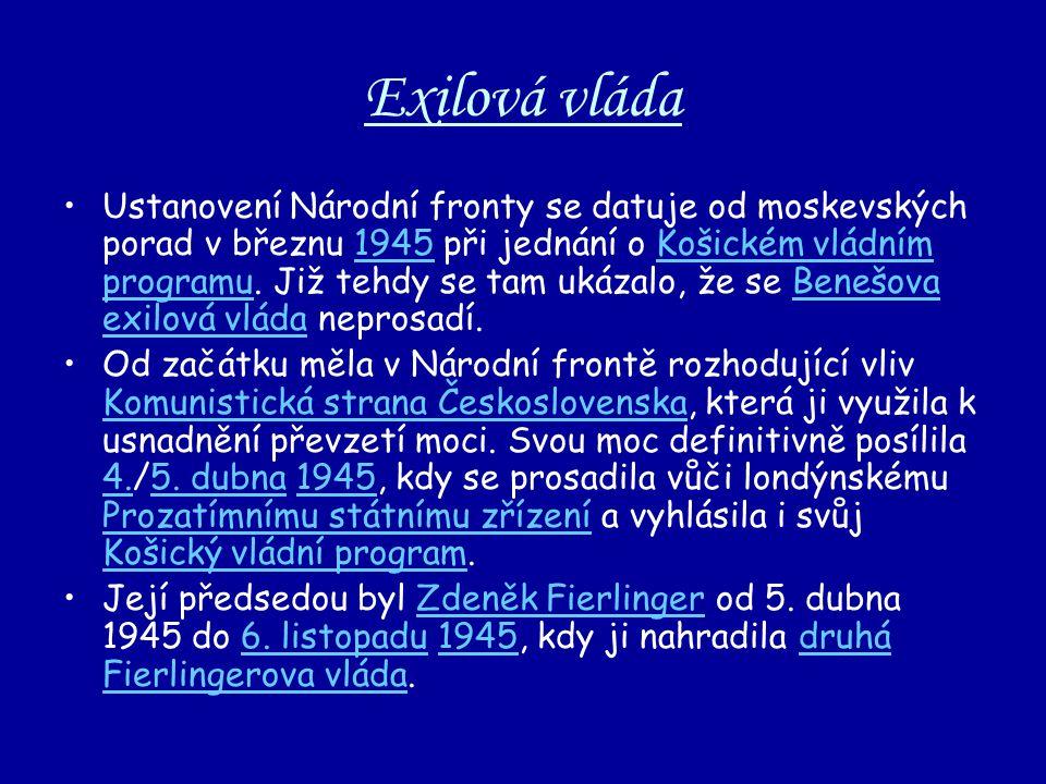 Exilová vláda Ustanovení Národní fronty se datuje od moskevských porad v březnu 1945 při jednání o Košickém vládním programu. Již tehdy se tam ukázalo