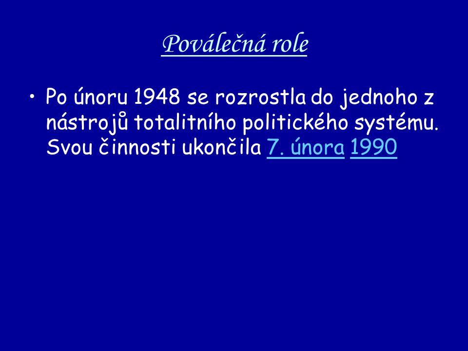 Poválečná role Po únoru 1948 se rozrostla do jednoho z nástrojů totalitního politického systému. Svou činnosti ukončila 7. února 19907. února1990