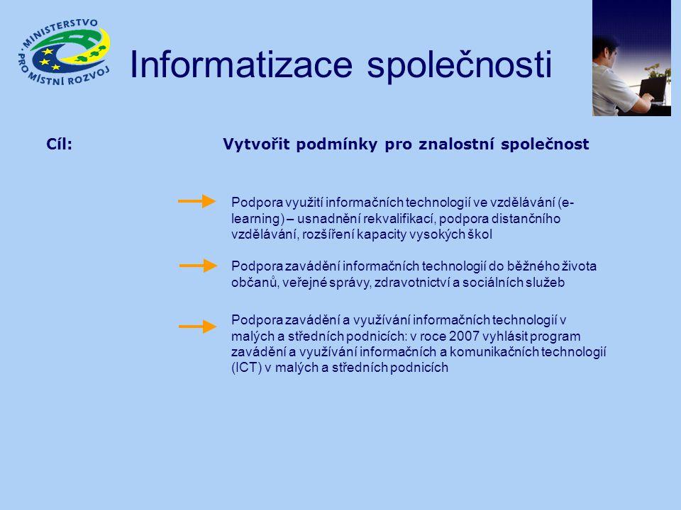 Informatizace společnosti Cíl: Vytvořit podmínky pro znalostní společnost Podpora využití informačních technologií ve vzdělávání (e- learning) – usnadnění rekvalifikací, podpora distančního vzdělávání, rozšíření kapacity vysokých škol Podpora zavádění informačních technologií do běžného života občanů, veřejné správy, zdravotnictví a sociálních služeb Podpora zavádění a využívání informačních technologií v malých a středních podnicích: v roce 2007 vyhlásit program zavádění a využívání informačních a komunikačních technologií (ICT) v malých a středních podnicích