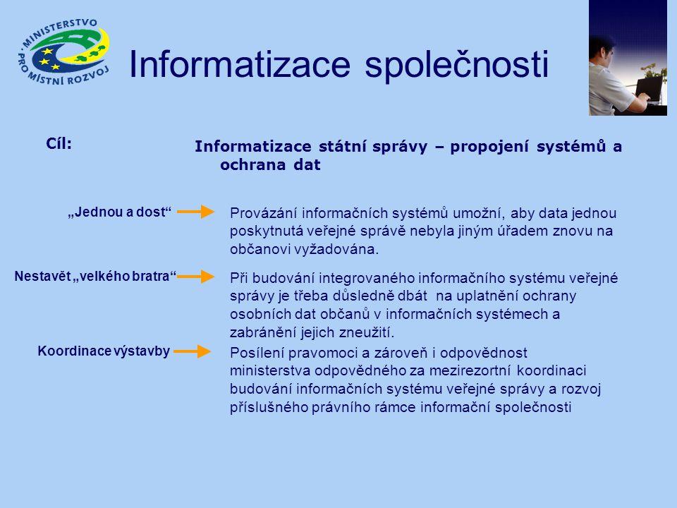 Informatizace společnosti Cíl: Informatizace státní správy – propojení systémů a ochrana dat Při budování integrovaného informačního systému veřejné s