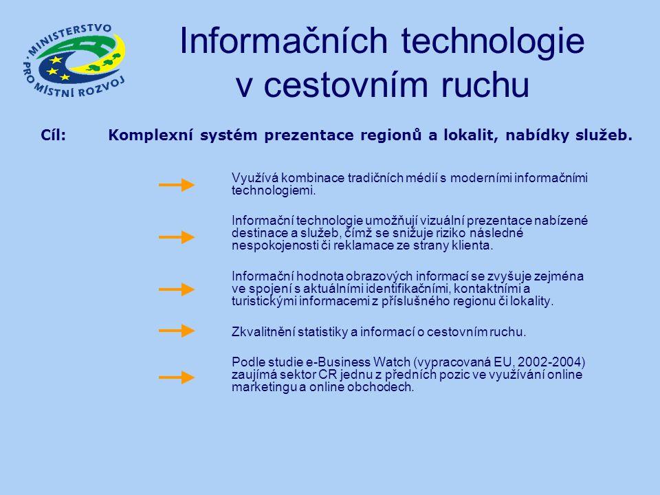 Informačních technologie v cestovním ruchu Využívá kombinace tradičních médií s moderními informačními technologiemi. Informační technologie umožňují