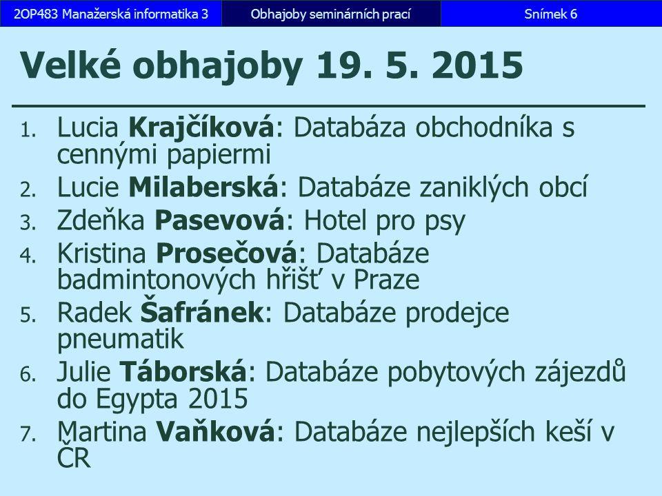Velké obhajoby 26.5. 2015 1. Josef Konvička: Databáze produktů společnosti Apple 2.