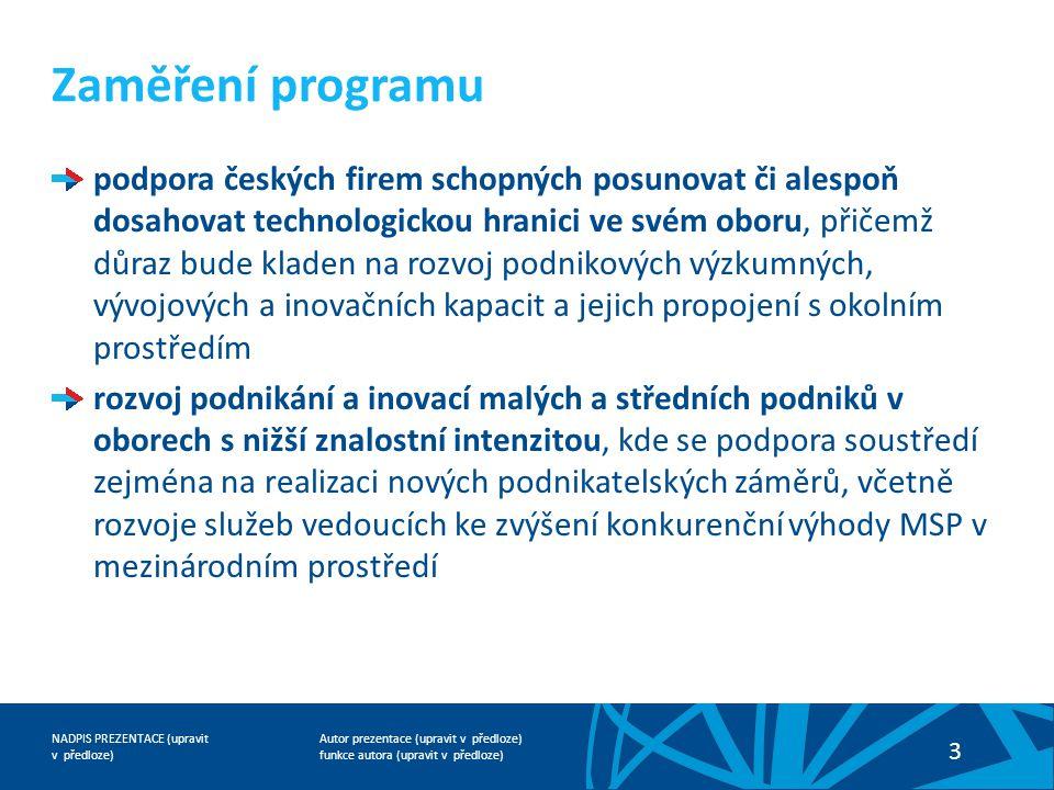 Autor prezentace (upravit v předloze) funkce autora (upravit v předloze) NADPIS PREZENTACE (upravit v předloze) 3 podpora českých firem schopných posu
