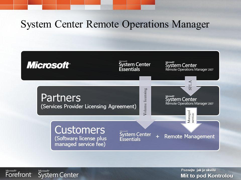 Poznejte jak je skvělé Mít to pod Kontrolou System Center Remote Operations Manager Partners (Services Provider Licensing Agreement) Customers (Softwa