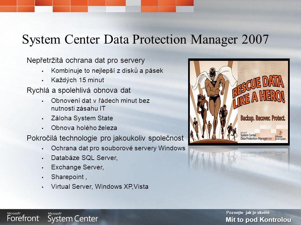 Poznejte jak je skvělé Mít to pod Kontrolou Nepřetržitá ochrana dat pro servery Kombinuje to nejlepší z disků a pásek Každých 15 minut Rychlá a spolehlivá obnova dat Obnovení dat v řádech minut bez nutnosti zásahu IT Záloha System State Obnova holého železa Pokročilá technologie pro jakoukoliv společnost Ochrana dat pro souborové servery Windows Databáze SQL Server, Exchange Server, Sharepoint, Virtual Server, Windows XP,Vista System Center Data Protection Manager 2007