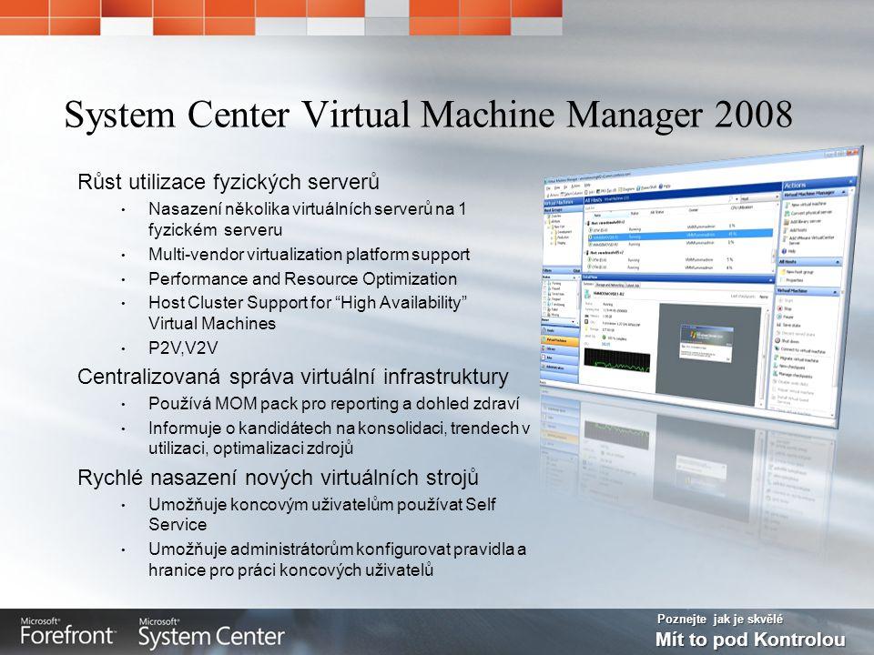 Poznejte jak je skvělé Mít to pod Kontrolou System Center Virtual Machine Manager 2008 Růst utilizace fyzických serverů Nasazení několika virtuálních