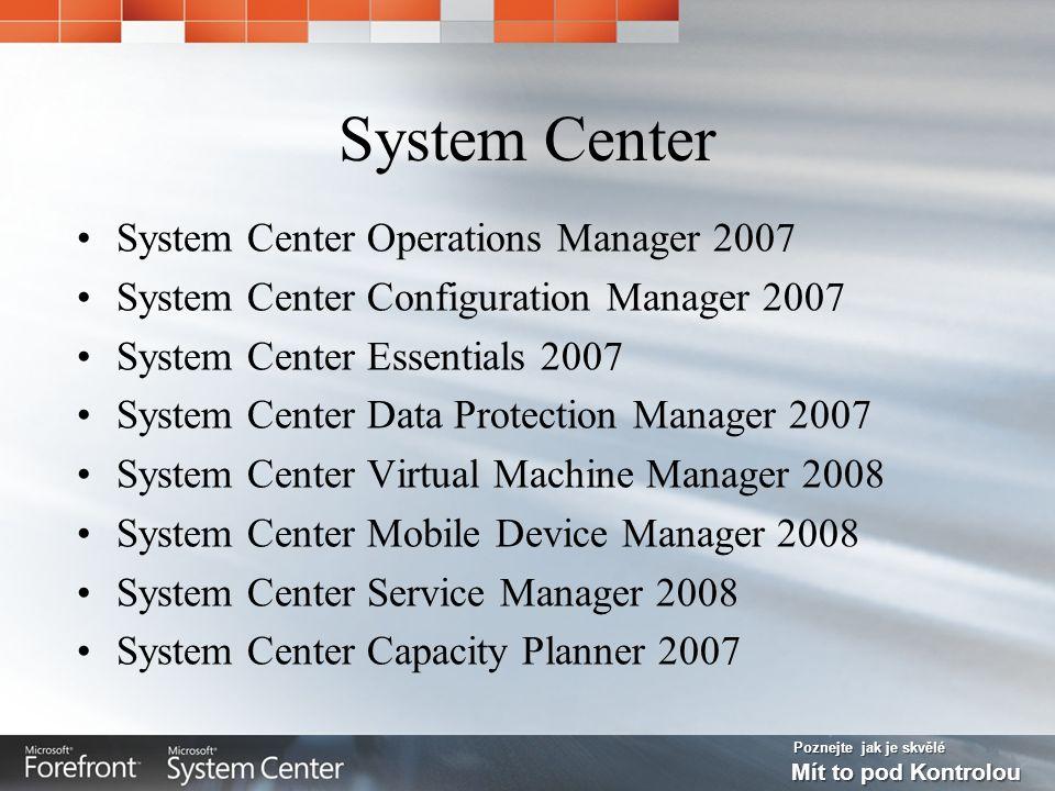 Poznejte jak je skvělé Mít to pod Kontrolou System Center Operations Manager 2007 Monitorování IT prostředí Proaktivní správa služeb a kritických LOB aplikací, stanic, serverů, HW Integrace znalostní databáze MS Integrace diag.