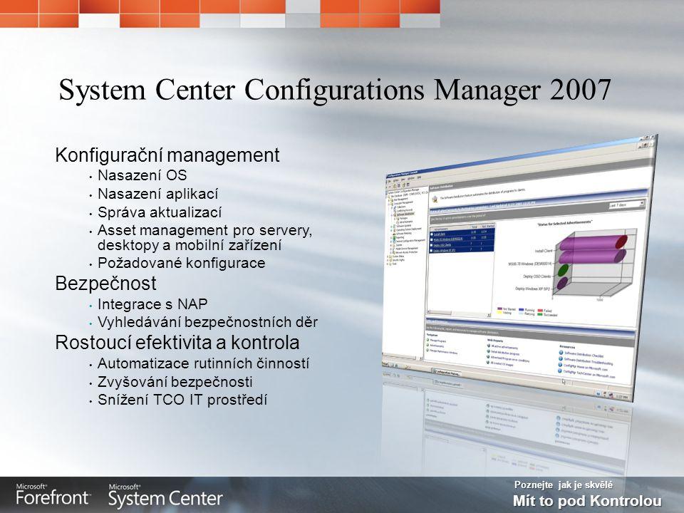 Poznejte jak je skvělé Mít to pod Kontrolou Konfigurační management Nasazení OS Nasazení aplikací Správa aktualizací Asset management pro servery, desktopy a mobilní zařízení Požadované konfigurace Bezpečnost Integrace s NAP Vyhledávání bezpečnostních děr Rostoucí efektivita a kontrola Automatizace rutinních činností Zvyšování bezpečnosti Snížení TCO IT prostředí System Center Configurations Manager 2007