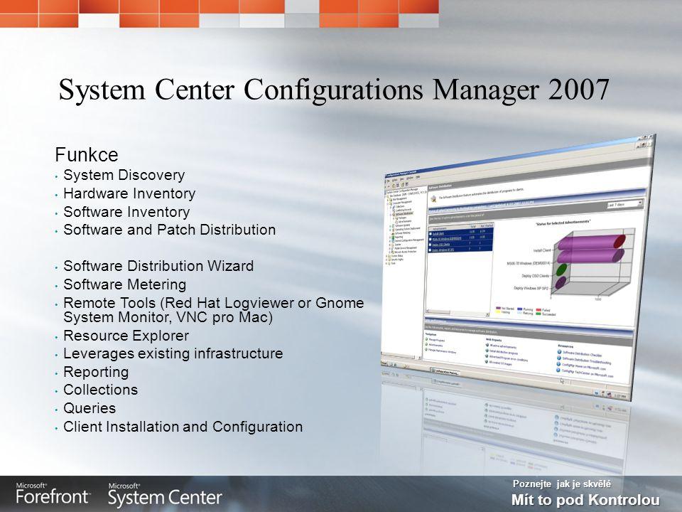 Poznejte jak je skvělé Mít to pod Kontrolou Funkce System Discovery Hardware Inventory Software Inventory Software and Patch Distribution Software Dis