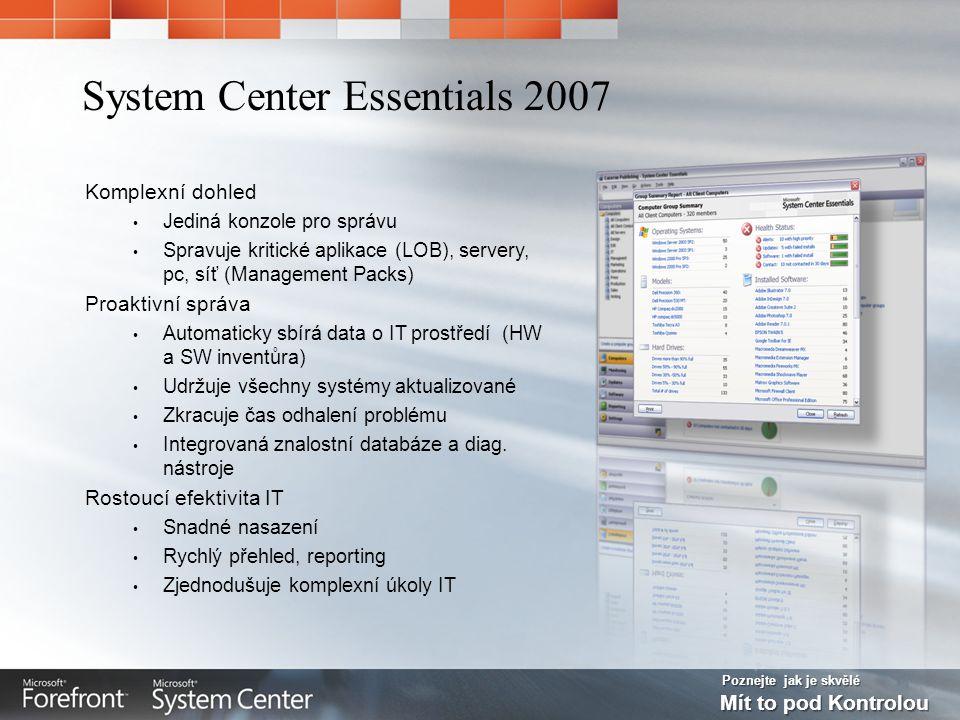 Poznejte jak je skvělé Mít to pod Kontrolou Komplexní dohled Jediná konzole pro správu Spravuje kritické aplikace (LOB), servery, pc, síť (Management Packs) Proaktivní správa Automaticky sbírá data o IT prostředí (HW a SW inventůra) Udržuje všechny systémy aktualizované Zkracuje čas odhalení problému Integrovaná znalostní databáze a diag.