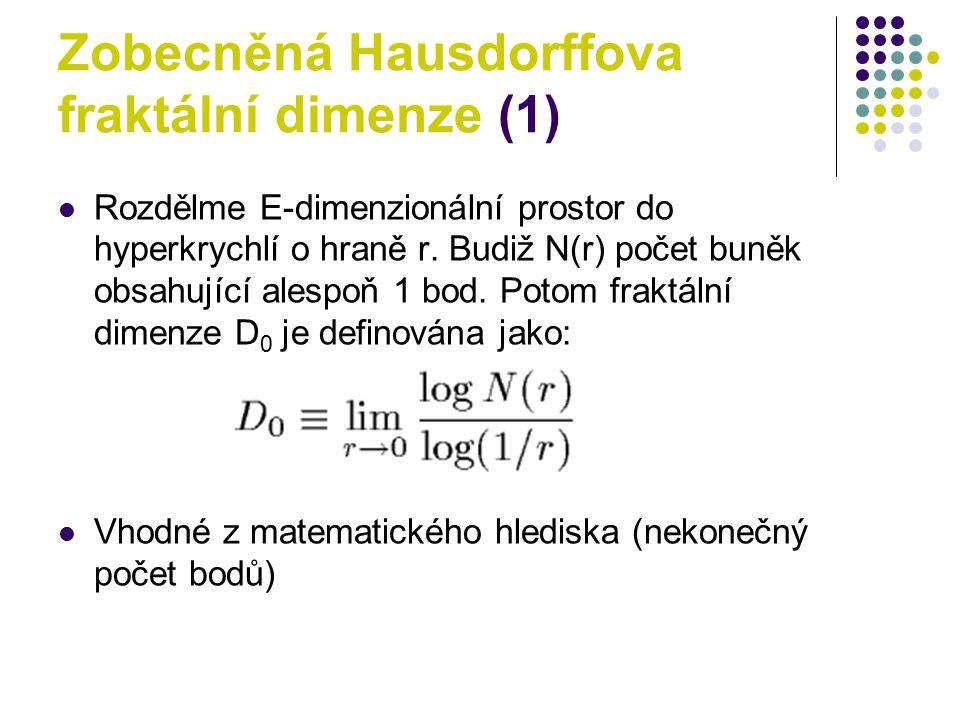 Zobecněná Hausdorffova fraktální dimenze (1) Rozdělme E-dimenzionální prostor do hyperkrychlí o hraně r. Budiž N(r) počet buněk obsahující alespoň 1 b