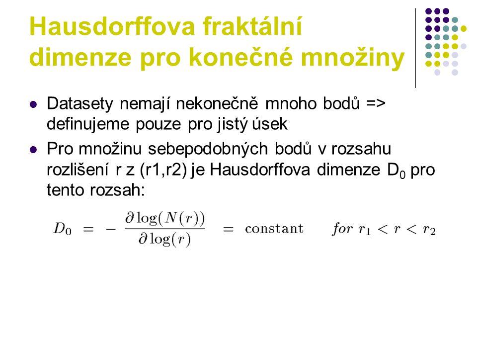 Hausdorffova fraktální dimenze pro konečné množiny Datasety nemají nekonečně mnoho bodů => definujeme pouze pro jistý úsek Pro množinu sebepodobných bodů v rozsahu rozlišení r z (r1,r2) je Hausdorffova dimenze D 0 pro tento rozsah: