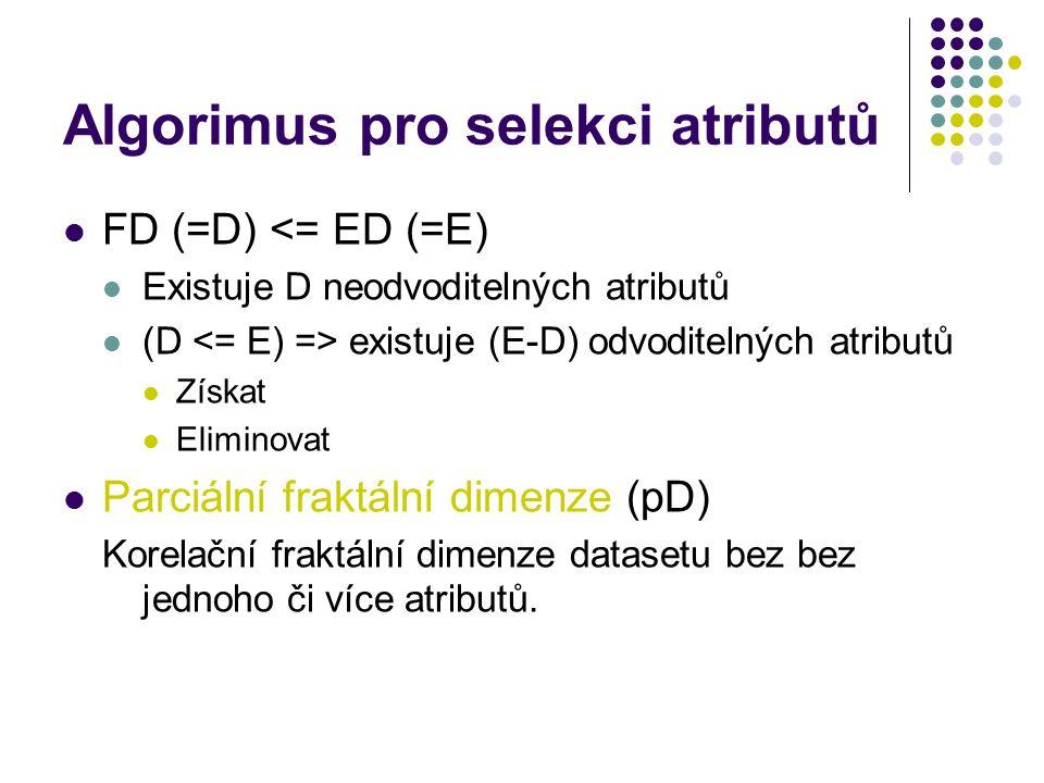 Algorimus pro selekci atributů FD (=D) <= ED (=E) Existuje D neodvoditelných atributů (D existuje (E-D) odvoditelných atributů Získat Eliminovat Parci