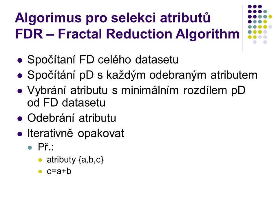 Algorimus pro selekci atributů FDR – Fractal Reduction Algorithm Spočítaní FD celého datasetu Spočítání pD s každým odebraným atributem Vybrání atributu s minimálním rozdílem pD od FD datasetu Odebrání atributu Iterativně opakovat Př.: atributy {a,b,c} c=a+b