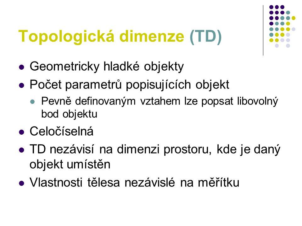 Topologická dimenze (TD) Geometricky hladké objekty Počet parametrů popisujících objekt Pevně definovaným vztahem lze popsat libovolný bod objektu Cel