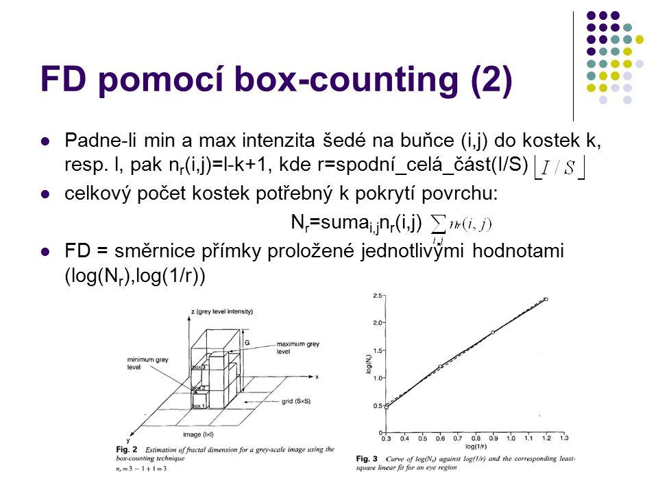 FD pomocí box-counting (2) Padne-li min a max intenzita šedé na buňce (i,j) do kostek k, resp. l, pak n r (i,j)=l-k+1, kde r=spodní_celá_část(I/S) cel