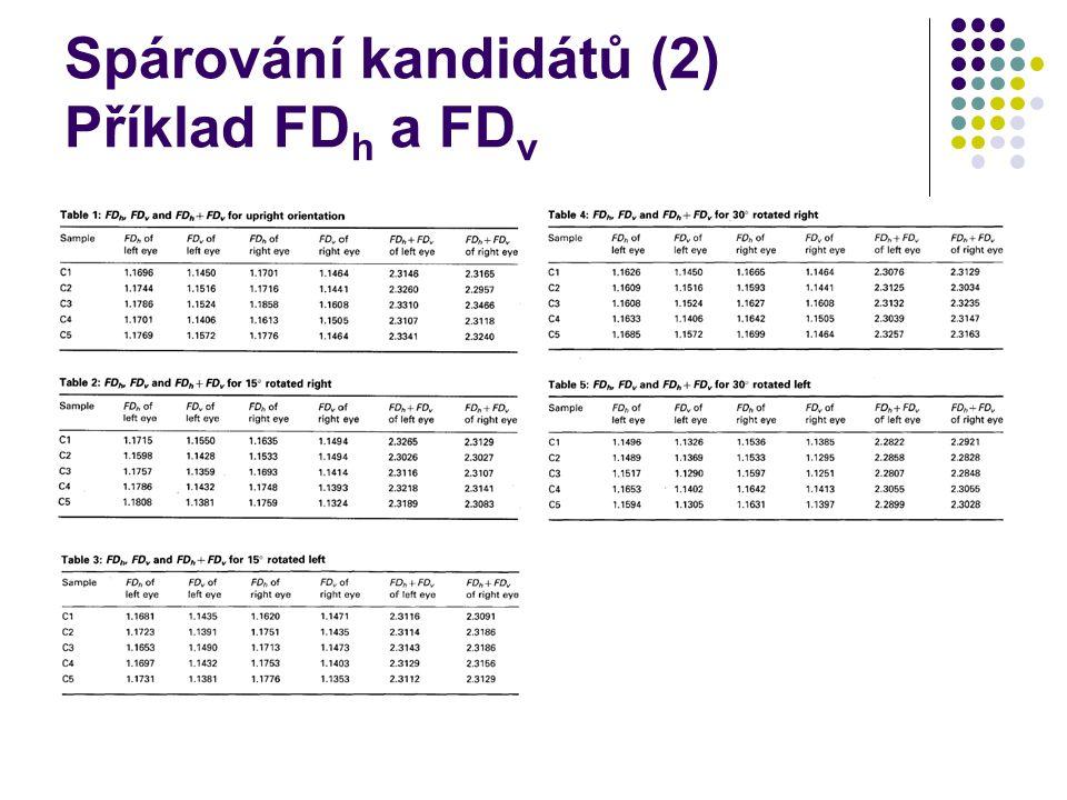 Spárování kandidátů (2) Příklad FD h a FD v
