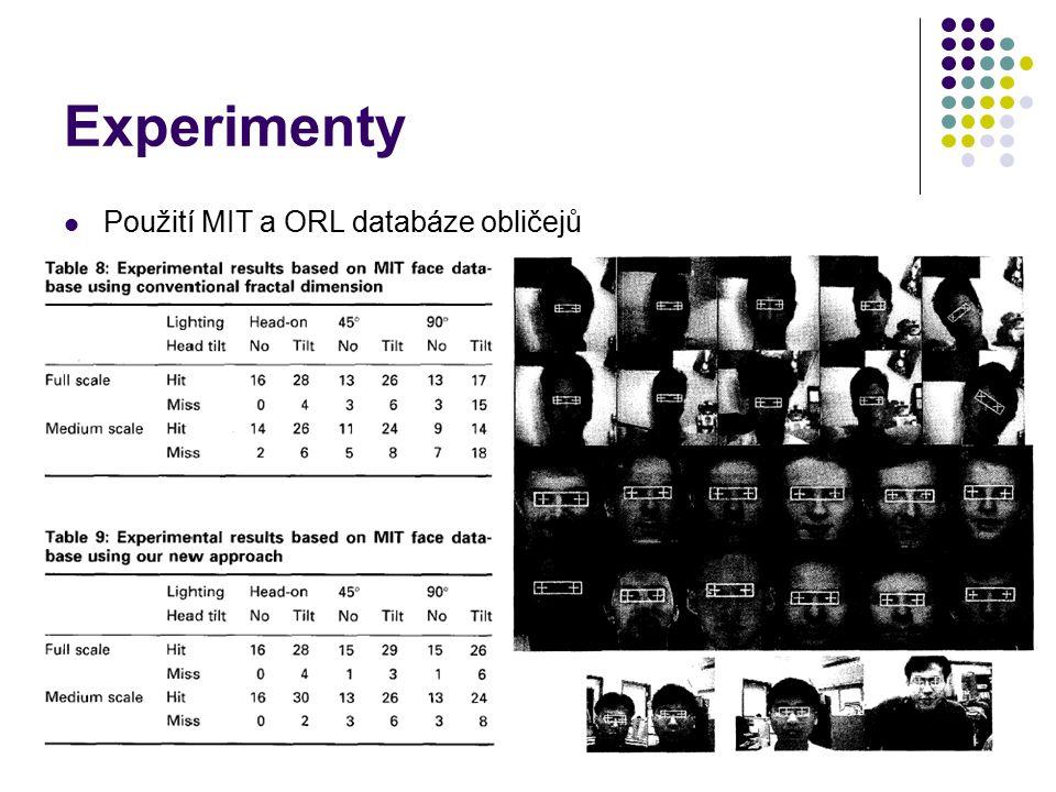 Experimenty Použití MIT a ORL databáze obličejů
