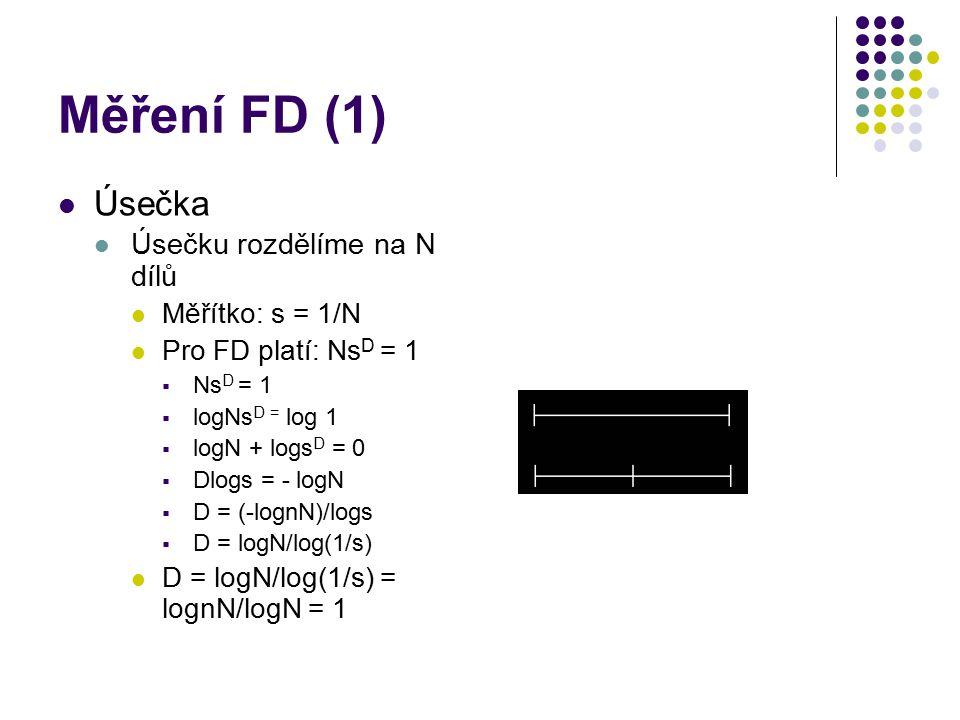 Měření FD (1) Úsečka Úsečku rozdělíme na N dílů Měřítko: s = 1/N Pro FD platí: Ns D = 1  Ns D = 1  logNs D = log 1  logN + logs D = 0  Dlogs = - logN  D = (-lognN)/logs  D = logN/log(1/s) D = logN/log(1/s) = lognN/logN = 1