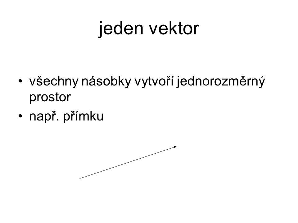 jeden vektor všechny násobky vytvoří jednorozměrný prostor např. přímku