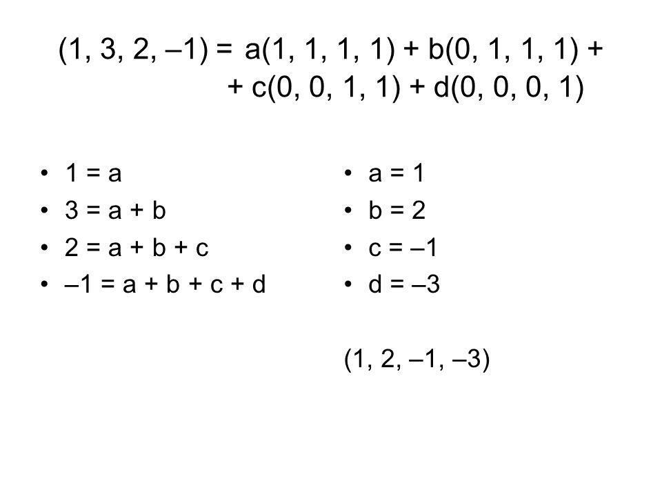 (1, 3, 2, –1) = a(1, 1, 1, 1) + b(0, 1, 1, 1) + + c(0, 0, 1, 1) + d(0, 0, 0, 1) 1 = a 3 = a + b 2 = a + b + c –1 = a + b + c + d a = 1 b = 2 c = –1 d