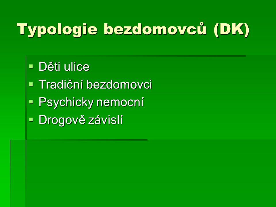 Typologie bezdomovců (DK)  Děti ulice  Tradiční bezdomovci  Psychicky nemocní  Drogově závislí