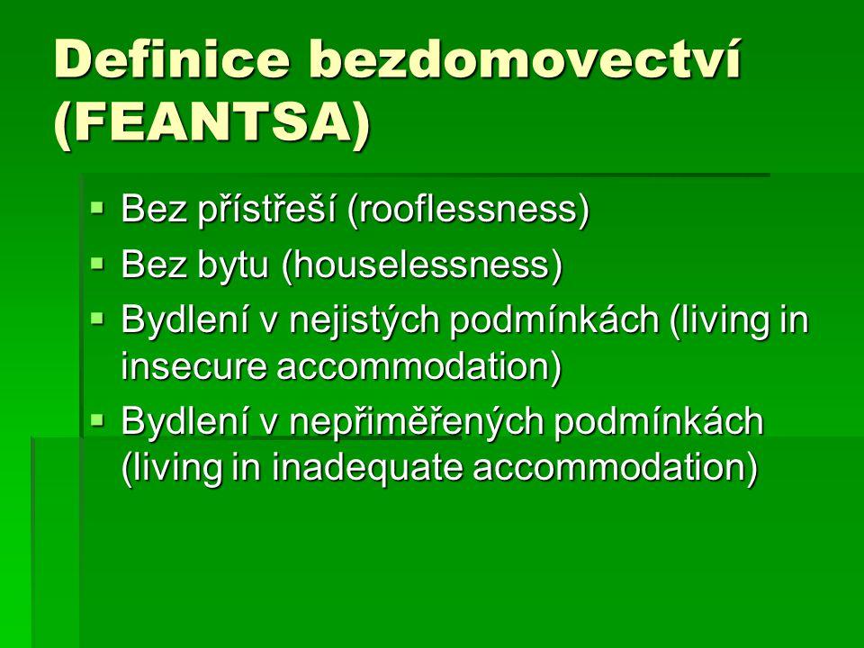 Definice bezdomovectví (FEANTSA)  Bez přístřeší (rooflessness)  Bez bytu (houselessness)  Bydlení v nejistých podmínkách (living in insecure accommodation)  Bydlení v nepřiměřených podmínkách (living in inadequate accommodation)