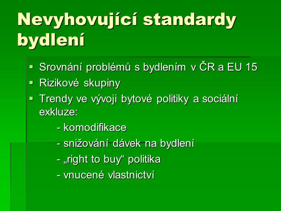 """Nevyhovující standardy bydlení  Srovnání problémů s bydlením v ČR a EU 15  Rizikové skupiny  Trendy ve vývoji bytové politiky a sociální exkluze: - komodifikace - snižování dávek na bydlení - """"right to buy politika - vnucené vlastnictví"""