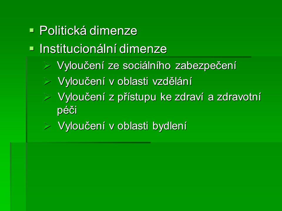  Politická dimenze  Institucionální dimenze  Vyloučení ze sociálního zabezpečení  Vyloučení v oblasti vzdělání  Vyloučení z přístupu ke zdraví a zdravotní péči  Vyloučení v oblasti bydlení