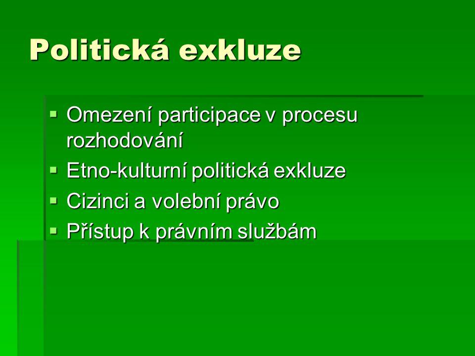 Politická exkluze  Omezení participace v procesu rozhodování  Etno-kulturní politická exkluze  Cizinci a volební právo  Přístup k právním službám